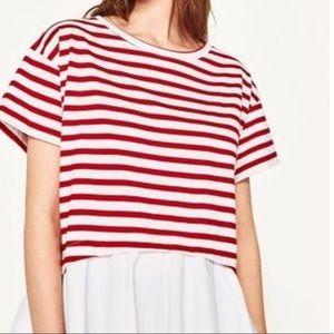 Zara Red and White Striped Oversized Tee Shirt